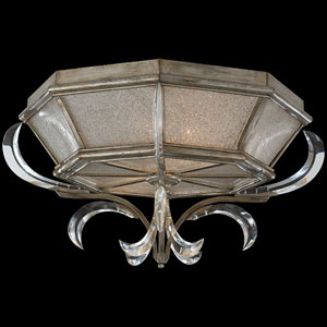 Beveled Arcs Two-Light Flush Mount in Warm Muted Silver Leaf Finish