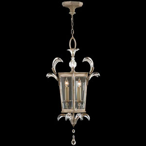 Beveled Arcs Three-Light Lantern in Warm Muted Silver Leaf Finish