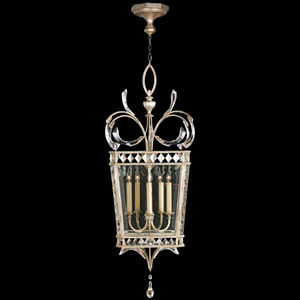 Beveled Arcs Five-Light Lantern in Warm Muted Silver Leaf Finish