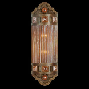 Scheherazade Two-Light Wall Sconce in Aged Dark Bronze Finish with Hand Blown Glass in Vibrant Amber Dunes Color