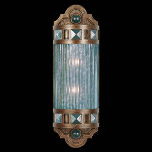 Scheherazade Two-Light Wall Sconce in Aged Dark Bronze Finish with Hand Blown Glass in Vibrant Desert Sky Blue Color