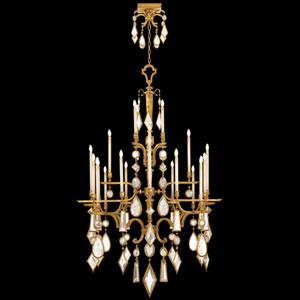 Encased Gems 24-Light Chandelier in Variegated Gold Leaf Finish with Clear Crystal Gems