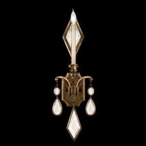 Encased Gems One-Light Wall Sconce in Venerable Bronze Patina Finish with Clear Crystal Gems