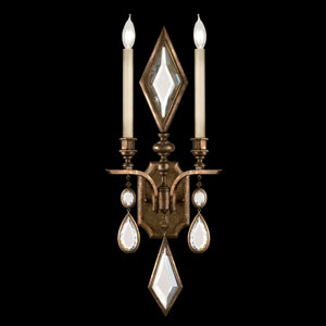 Encased Gems Two-Light Wall Sconce in Venerable Bronze Patina Finish with Clear Crystal Gems