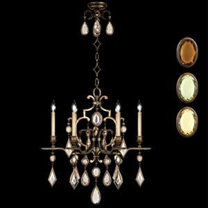 Encased Gems Six-Light Chandelier in Venerable Bronze Patina Finish with Multi-Colored Crystal Gems
