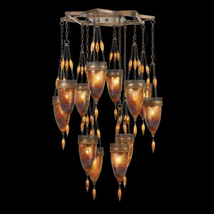 Scheherazade 12-Light Pendant in Aged Dark Bronze Finish and Hand Blown Glass in Vibrant Amber Dunes Color