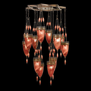 Scheherazade 12-Light Pendant in Aged Dark Bronze Finish and Hand Blown Glass in Vibrant Sunset Red Color