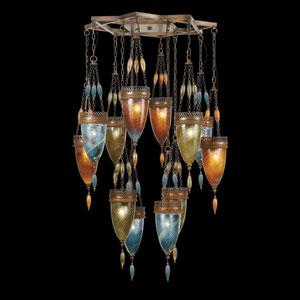 Scheherazade 12-Light Pendant in Aged Dark Bronze Finish and Hand Blown Glass in Vibrant Oasis Green, Amber Dunes Desert Sky