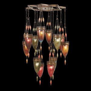 Scheherazade 12-Light Pendant in Aged Dark Bronze Finish and Hand Blown Glass in Vibrant Colors Oasis Green, Amber Dunes, and Sunset Red