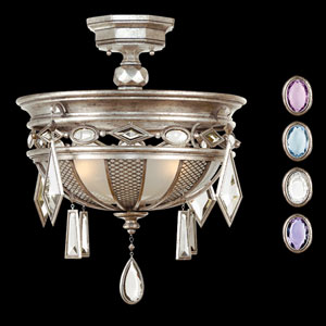 Encased Gems Three-Light Semi-Flush Mount in Silver Leaf Finish with Multi-Colored Crystal Gems