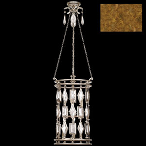 Encased Gems Six-Light Lantern in Variegated Gold Leaf Finish with Clear Crystal Gems