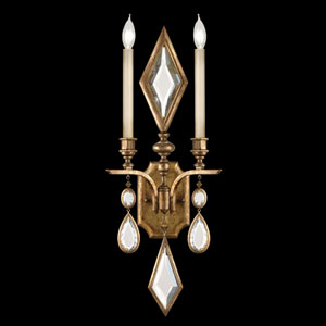 Encased Gems Two-Light Wall Sconce in Variegated Gold Leaf Finish with Clear Crystal Gems