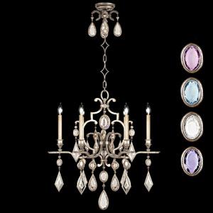 Encased Gems Six-Light Chandelier in Silver Leaf Finish with Multi-Colored Crystal Gems
