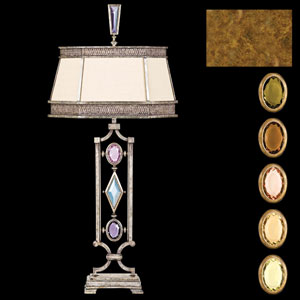 Encased Gems One-Light Table Lamp in Variegated Gold Leaf Finish with Hand Sewn Laminated Silk Shantung Shade
