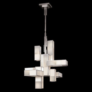 Perspectives Silver 12-Light Chandelier in Warm Muted Silver Leaf Finish