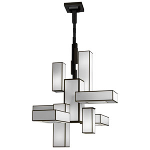 Black and White Story 12-Light Chandelier in Black Satin Lacquer Finish