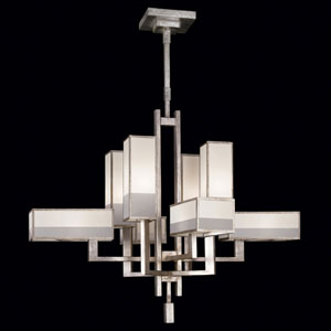 Perspectives Silver Eight-Light Chandelier in Warm Muted Silver Leaf Finish