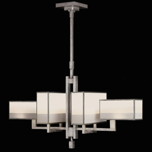 Perspectives Silver Six-Light Chandelier in Warm Muted Silver Leaf Finish