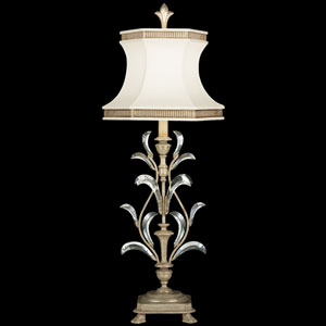 Beveled Arcs One-Light Table Lamp in Warm Muted Silver Leaf Finish with Features Laminated Silk Shantung Shade
