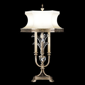 Beveled Arcs Three-Light Table Lamp in Warm Muted Silver Leaf Finish