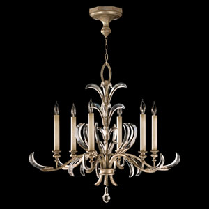 Beveled Arcs Six-Light Chandelier in Warm Muted Silver Leaf Finish with Beveled Crystal Accents