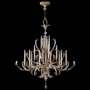 Beveled Arcs 16-Light Chandelier in Warm Muted Silver Leaf Finish