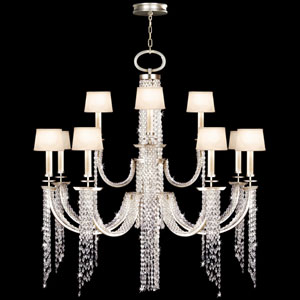 Cascades 12-Light Chandelier in Warm Silver Leaf Finish