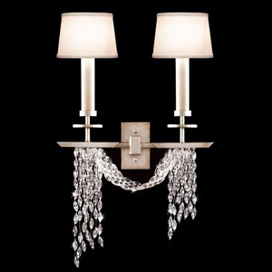 Cascades Two-Light Wall Sconce in A Warm Silver Leaf Finish Featuring Woven Hand Cut Crystals