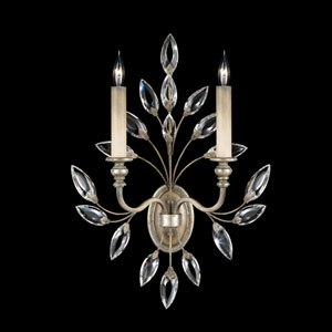 Crystal Laurel Two-Light Wall Sconce in Warm Silver Leaf Finish