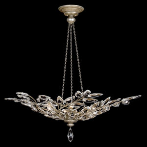 Crystal Laurel Six-Light Pendant in Warm Silver Leaf Finish