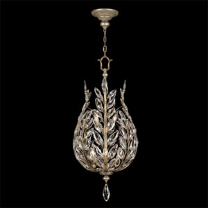 Crystal Laurel Six-Light Lantern in Warm Silver Leaf Finish