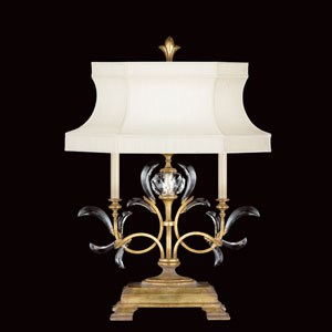 Beveled Arcs One-Light Table Lamp in a Warm Muted Gold Leaf Finish Featuring Beveled Crystal Accents