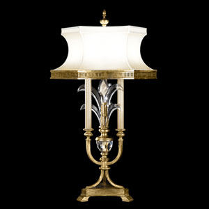 Beveled Arcs Three-Light Table Lamp in Muted Gold Leaf Finish