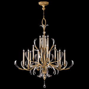 Beveled Arcs 16-Light Chandelier in Muted Gold Leaf Finish