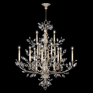 Crystal Laurel 20-Light Chandelier in Warm Silver Leaf Finish with Stylized Faceted Crystal Leaves