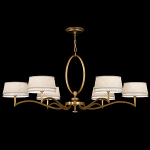 Allegretto Six-Light Chandelier in Burnished Gold Leaf Finish