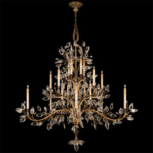Crystal Laurel Gold 20-Light Chandelier in Gold Leaf Finish and Stylized Faceted Crystal Leaves