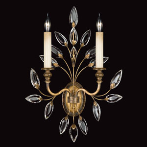 Crystal Laurel Gold Two-Light Wall Sconce in Antiqued Warm Gold Leaf Finish with Stylized Faceted Crystal Leaves.
