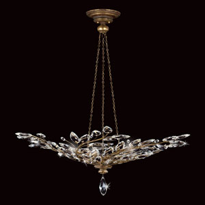 Crystal Laurel Gold Six-Light Pendant in Antiqued Warm Gold Leaf Finish with Stylized Faceted Crystal Leaves.