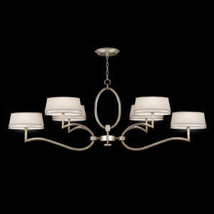 Allegretto Six-Light Chandelier in Platinized Silver Leaf Finish