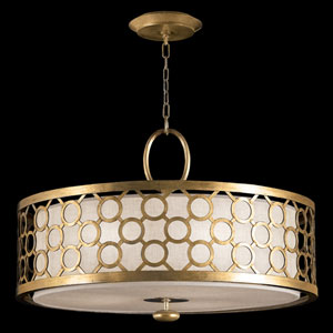 Allegretto Three-Light Pendant in Burnished Gold Leaf Finish