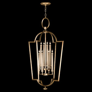 Allegretto Eight-Light Lantern Pendant in Burnished Gold Leaf Finish