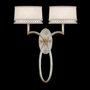 Allegretto Two-Light Wall Sconce in Platinized Silver Leaf Finish