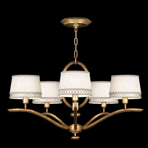 Allegretto Five-Light Chandelier in Burnished Gold Leaf Finish
