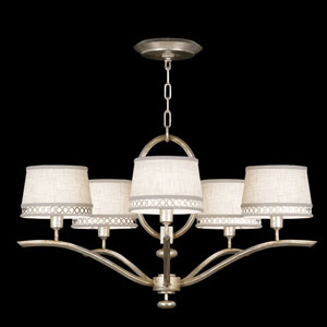 Allegretto Five-Light Chandelier in Platinized Silver Leaf Finish