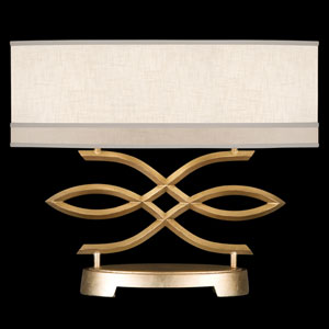 Allegretto Two-Light Table Lamp in Burnished Gold Leaf Finish