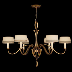 Staccato Six-Light Chandelier in Toned Gold Leaf Finish