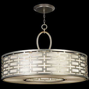 Allegretto Five-Light Pendant in Platinized Silver Leaf Finish