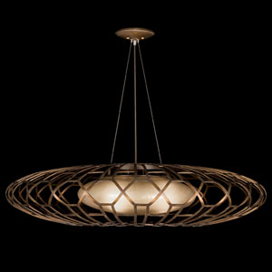 Entourage Three-Light Pendant in Bourbon Finish with Golden Mist Highlights and a Shade of Hand Blown Glass