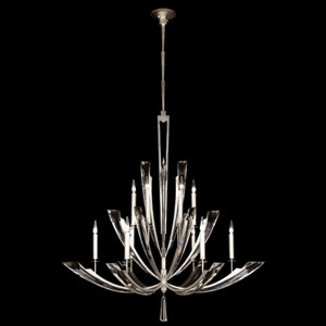 Vol De Cristal 12-Light Chandelier in Platinized Silver Leaf Finish
